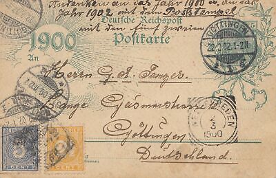 Ned. Indie 1900: post card Deutsches Reich from and to Göttingen/Germany