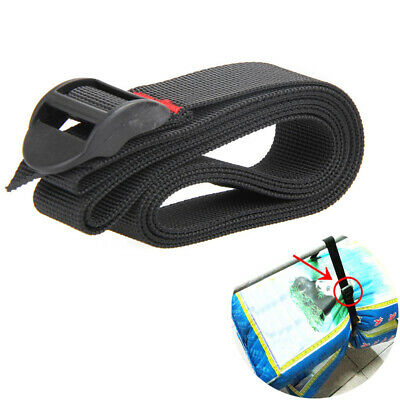 1.5m Nylon Cam Pack Tie Down Strap Cargo Lash Luggage Bag Belt Buckle Tool Black
