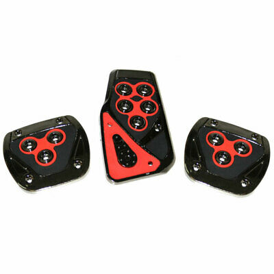 3 Pcs Universal Manual Car Vehicle Non Slip Red Black Sport Pedal Foot Covers