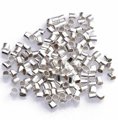 1000pcs Wholesale Silver Plated Tube Crimp Beads Jewelry Making DIY 2mm