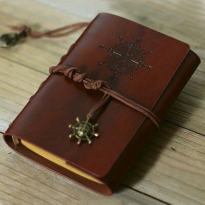 Retro Vintage Leather Bound Blank Page Notebook Note Notepad Journal Diary  LG