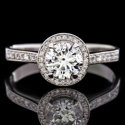 1.20ctw ROUND BRILLIANT CUT CERTIFIED DIAMOND ENGAGEMENT RING PAVE HALO 18K GOLD