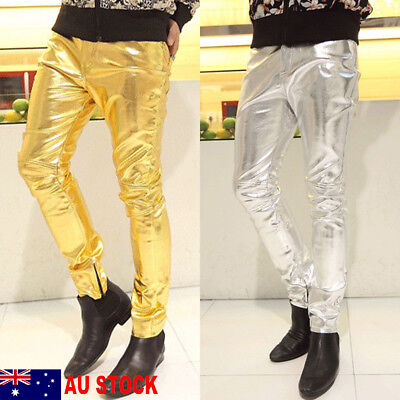 AU Men's Halloween Party Cosplay Costume Stage Club Long Slim Fit Pants Trousers