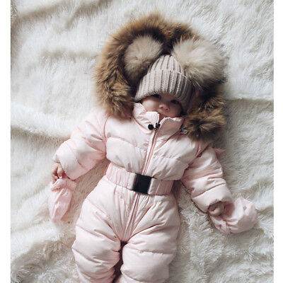 AU Kid Baby Girl Fur Hooded Feather Down Jacket Jumpsuit Snowsuit Outwear Outfit
