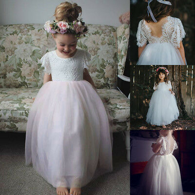 AU Kid Baby Flower Girl Lace Tulle Party Wedding Bridesmaid Gown Prom Tutu Dress