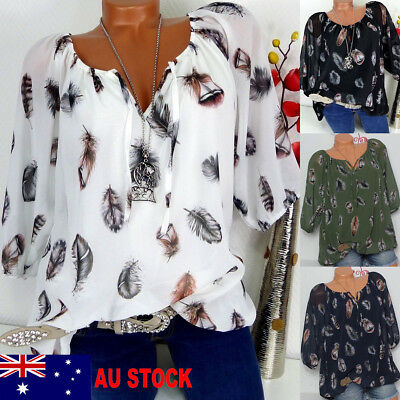 AU Women Loose Floral Long Sleeve Blouse Baggy Causal Tops Ladies V Neck T Shirt