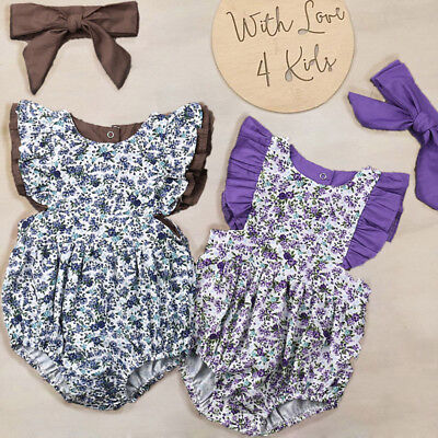 AU Newborn Kid Baby Girl Floral Outfit Romper Jumpsuit Bodysuit 2pcs Clothes Set
