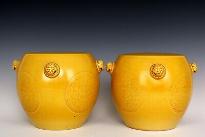 Chinese Beautiful Pair Yellow Glaze Porcelain Tigers Handles Chairs