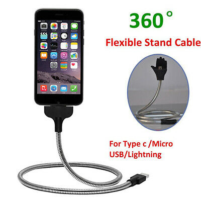 1X 360 Flexible Stand Up Holder Charging Sync Cable Phone Charging Holder