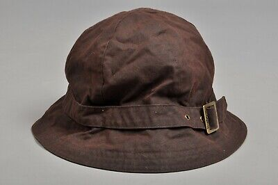 BARBOUR Brown Waxed Cotton Bucket Hat Size L