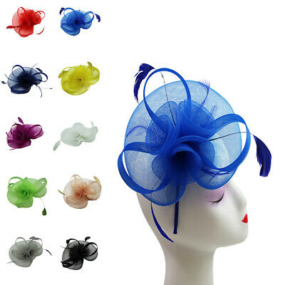 Flower Feather Fascinator Headband Hair Accessories Ladies Race Royal Ascot Prom