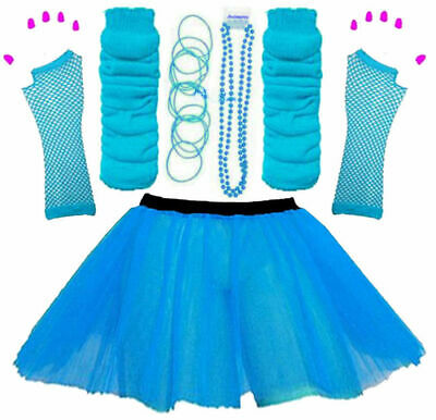 New Girls Neon Tutu Skirt Hen Party 80'S Fancy Dress Accessories Bangles Blue