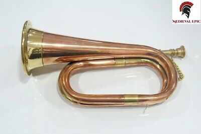 Medieval Epic Civil War Era Solid Copper Bugle US Military Cavalry Horn