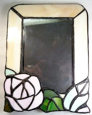 Vintage Art Nouveau Pink Cream Colored Floral Leaded Stained Glass Photo Frame