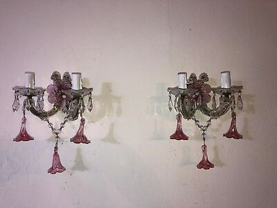 ~c 1920  French Murano Pink Fuchsia Flowers & Crystal Prisms Sconces~