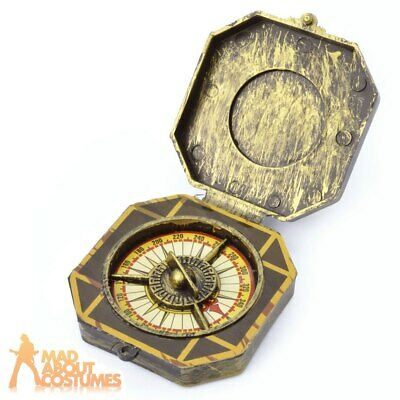 Gold Pirate Compass Steampunk Fake Plastic Toy Fancy Dress Costume Accessory