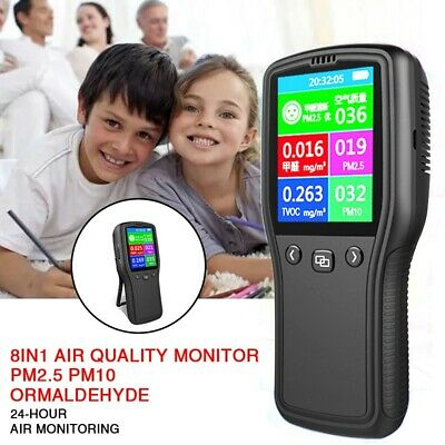 8In1 Air Quality Monitor PM2.5 PM10 Formaldehyde HCHO TVOC LCD Digital Device UK