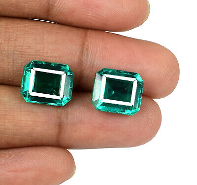 Zambian Emerald Loose Gemstone Pair Octagon 100% Natural 10-12 Ct AGSL Certified