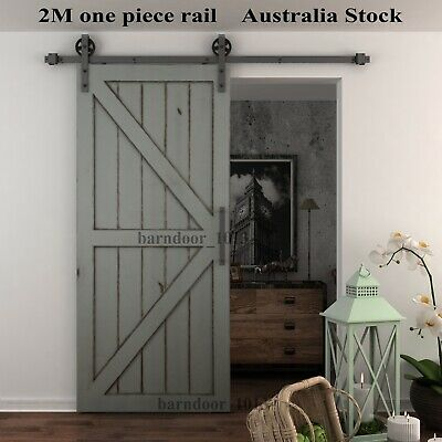 2M Classic Black Large Wheel Sliding Barn Door Hardware Kit