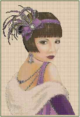 Art Deco Lady in Purple w/White Stole Counted Cross Stitch COMPLETE KIT No.1-2