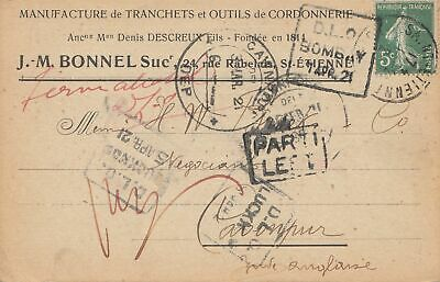 India: 1921: St. Etienne/France post card to Cawnpur