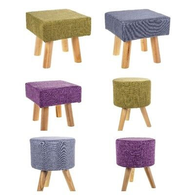 New Fabric Rest Stool Footstool Chair Ottoman Rest Padded Top Pouffe Seat 4 Legs