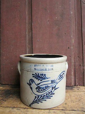 Antique 1865 SMALL 1 Gallon Norton Worcester Bird Decorated Stoneware Crock