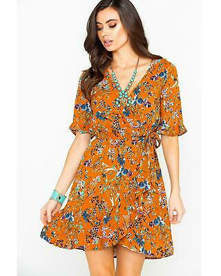73bee24f0856 Band of Gypsies Women's Floral Surplice Short Sleeve Wrap Dress Rust Copper