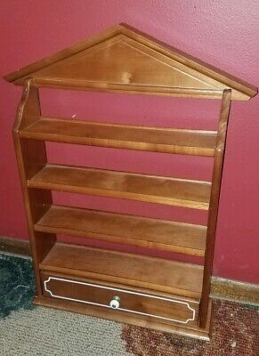 Charming Vintage 4 Tier Wooden Knick Knack Wall Shelfspice Rack Wlarge Drawer