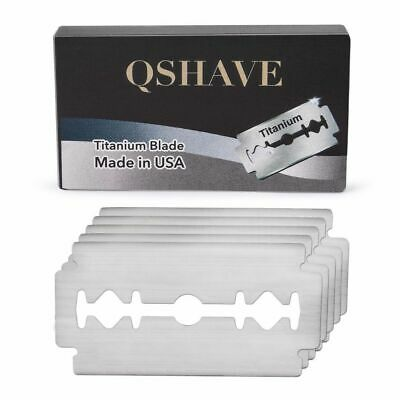 QSHAVE Double Edge Razor 5 Safety Blades Classic Titanium Man Beard Shaving Tool