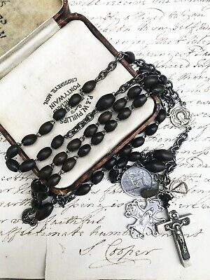 Antique French Lourdes Carved Wood Large Rosary Unique Spirituality Medalions