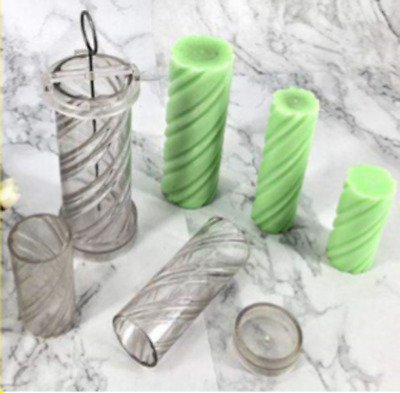 Polycarbonate double spiral pillar candle mould