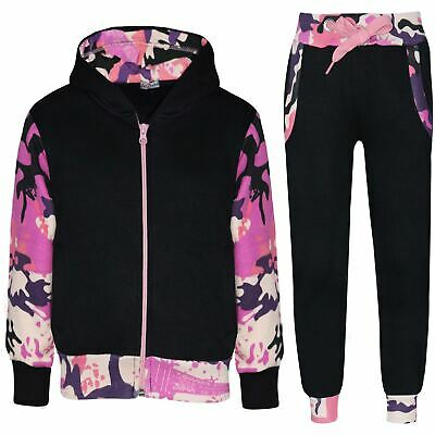Kids Girls Tracksuit Camo Baby Pink Fleece Hooded Jogging Suit Bottom Jogger2-13