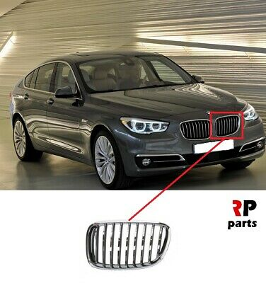 For Bmw 5 Gt Series F07 09-17 Front Bumper Kidney Grille Chrome/Gray Left N/S