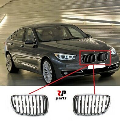 For Bmw 5 Gt Series F07 09-17 Front Bumper Kidney Grille Chrome/Gray Pair Set