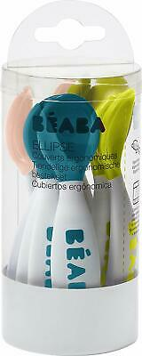 BEABA 2nd Stage Ergonomic Baby Cutlery, Set of 10 6 spoons + 4 forks, Assorted