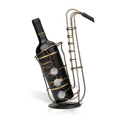 Wine Bottle Holder SAX Wine Rack Iron Metal Sculpture Bar Home Decor Crafts T1X8