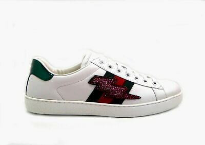 7257d1cefaa GUCCI ACE LIGHTNING Bolt Embroidered Low-Top Sneakers -  641.84 ...