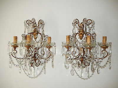 ~c 1900 French Huge Rare Baroque Gold Gilt Crystal Prisms 3 Lights Each Sconces~