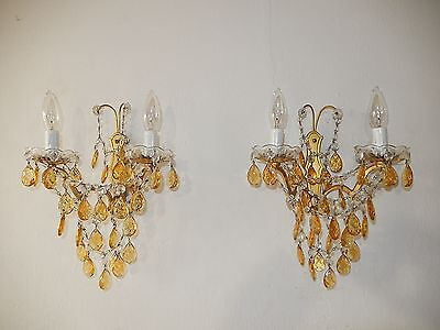 ~ c 1920 Vintage French Crystal Swags Yellow Prisms Elegant Sconces~