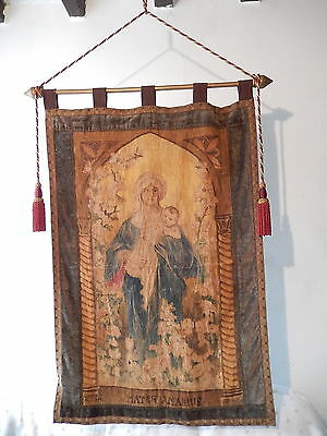 ~c1890 Big Italian Banner Religious Tapestry Mary & Jesus Hand Painted Vintage~
