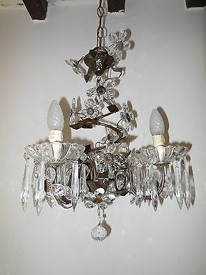 ~c 1940 Tole French Crystal Prisms Bagues Flowers Vintage OLD Chandelier ~