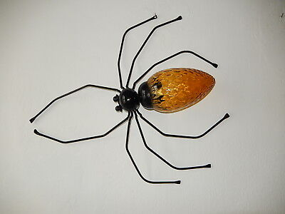 ~1950 Mid Century Spider Sconce Wall Light Amber Murano Glass Body Brutalist~