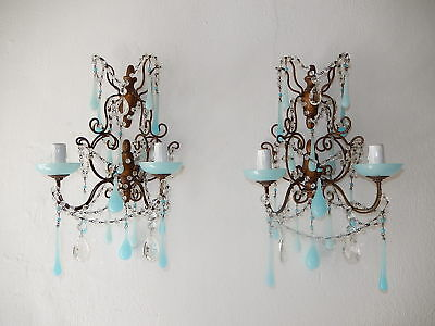 ~c 1920 French RARE Blue OPALINE Drops & Crystal Prisms Sconces