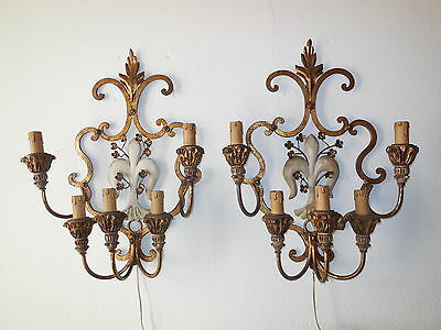 ~c 1910 French Pair  Wrought iron Fleur di Lys Sconces Vintage Original HUGE~