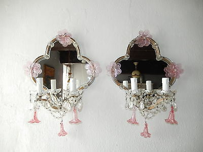 ~c 1920 Huge  Maison Bagues Style Pink Murano Mirrors Flower Swags Sconces~