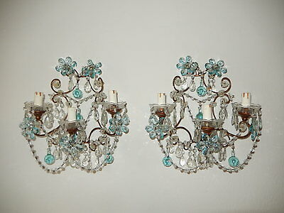 ~c 1920 French Maison Bagues Aqua Flower & Balls Style Prisms Sconces~