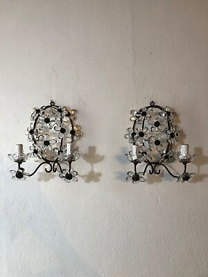 ~c 1920 French Maison Bagues  Style Clear Flower Prisms Sconces~