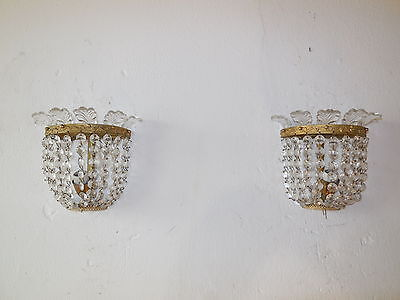~c 1920 BACCARAT Style French Crystal Prisms Bronze Sconces Empire Beautiful~
