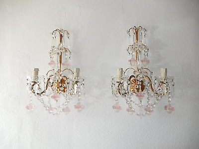 ~c 1920 French Maison Bagues Style Pink Murano Balls Flower Prisms Sconces~